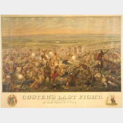 Framed Polychrome Lithograph of Custer's Last Fight