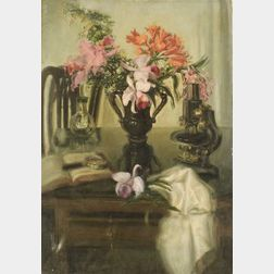 Blanche (Mrs. Oakes) Ames (American, 20th Century)  Table Top Still Life with Flowers, Microscope and Book