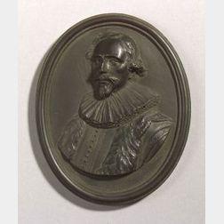 Wedgwood Black Basalt Portrait Medallion of Jacob Cats