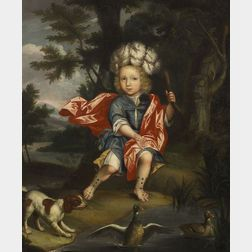 Attributed to R. Dellow (British, 18th Century)    Portrait of a Sir Thomas Pope-Blount Baronet with a Spaniel at a Pond's Edge.