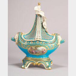 Mintons Porcelain Ship Potpourri Vase and Cover