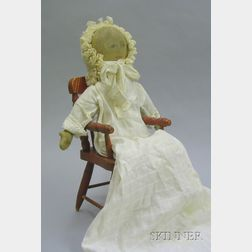 Handmade Rag Doll and Red-Painted Doll Chair