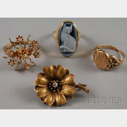 Four Gold Jewelry Items