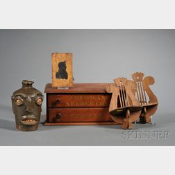 Five Assorted Items: Pair of Small Shelves, Face Jug, Silhouette, and Sewing Box