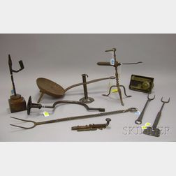 Group of Wrought Iron Hearth, Hardware, and Domestic Items