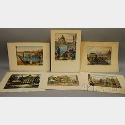 Lot of Six 20th-Century Unframed Works on Paper Featuring Scenes in Italy and      France