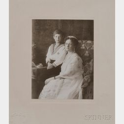The Boisson and Eggler Workshop (St. Petersburg, Early 20th Century)  Empress Alexandra Feodorovna and Tsarevich Alexei Nikolaevich, co