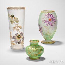 Two Daum Nancy Vases and a Mont Joye Vase