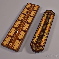 Two Wooden Victorian Cribbage Boards