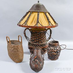 Three Baskets and a Basketry Lamp