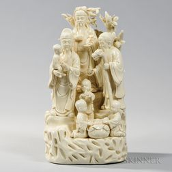 Blanc-de-chine Sculpture of Immortals