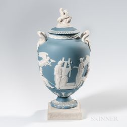 Wedgwood Blue Jasper Apotheosis of Homer Vase and Cover