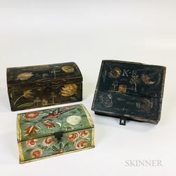 Three Pennsylvania Paint-decorated Pine and Poplar Boxes