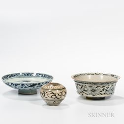Three Swatow-style Blue and White Items