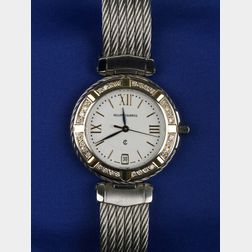 Stainless Steel and Diamond Wristwatch