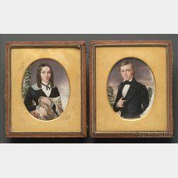 Pair of Portrait Miniatures of Oliver S. and Martha (Nasm) Sanford