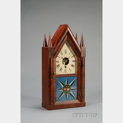 "Mahogany Sharp Gothic or ""Steeple"" Clock by Silas B. Terry"