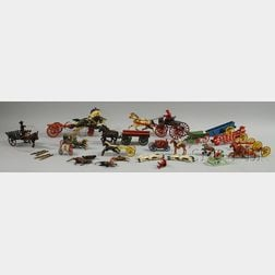 Group of Cast Iron and Metal Horse and Buggy-type Toys