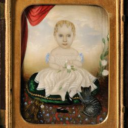 Attributed to Clarissa (Peters) Russell (Massachusetts, 1809-1854)    Portrait Miniature of Little Girl with Her Cat and Dog.