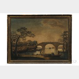 Chinese School, Early 19th Century      River Landscape with Chinese Domestic Scene.