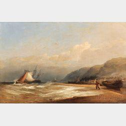 John Wilson (British, 1771-1855)      On the Beach by a Fishing Village