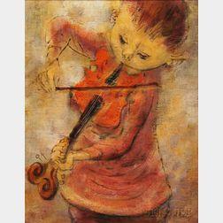 David Berger (American, 1920-1966)      Young Violinist.