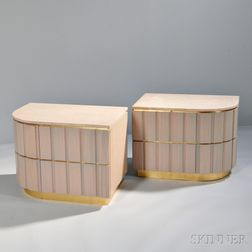 Pair of Contemporary Marble-top Nightstands