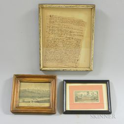 Two Framed Engravings and a Document
