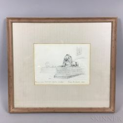 Framed Edwin B. Sears (American, 20th Century) Pencil Sketch of Bronze Lions in Trafalgar Square