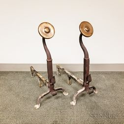 Pair of Arts and Crafts Bronze and Wrought Iron Andirons