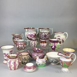 Eighteen Pink Lustre Ceramic Items