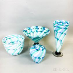 Four Charlie Meaker Studio Art Glass Pieces
