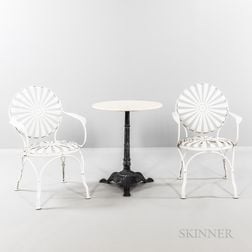 Two Francois Carre Sunburst Armchairs and Cafe Table