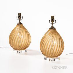 Pair of Archimede Seguso (Italian, 1909-1999) Lamp Bases