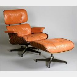 Charles and Ray Eames Rosewood and Leather Armchair and Ottoman