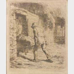 Lot of Three Barbizon School Posthumous Prints:  Jean Francois Millet (French, 1814-1875), Man With Wheelbarrow