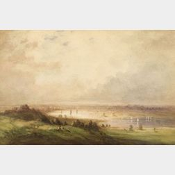 Manner of Joseph Mallord William Turner (British, 1775-1851)    Figures on a Hillside Overlooking a River