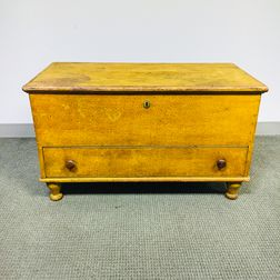 Yellow Sponge-painted Pine One-drawer Blanket Chest
