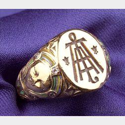 Egyptian Revival 18kt Gold, Diamond and Enamel Ring, Tiffany & Co.