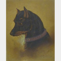 Victorian Walnut Framed Enhanced Dog Portrait Print The Drawing Room Pet