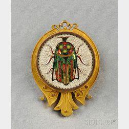 Antique Micromosaic Beetle Brooch