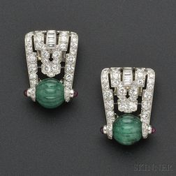 Art Deco Platinum, Carved Emerald, and Diamond Dress Clips