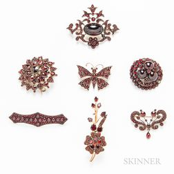 Group of Bohemian Garnet Brooches