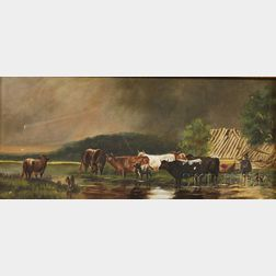 Lot of Four Works:      American School, 19th/20th Century, Cows Watering