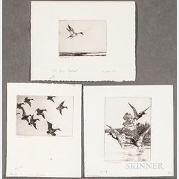Frank Weston Benson (American, 1862-1951)      Three Images of Water Fowl: Black Ducks at Dusk