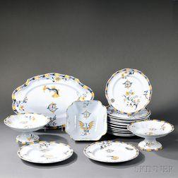 Nineteen Emile Galle Faience Dinnerware Items