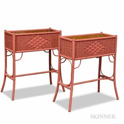 Pair of Red-painted Wicker Plant Stands