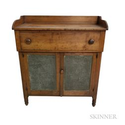 Country Cherry and Pierced Tin One-drawer Pie Safe/Cupboard
