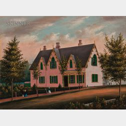 American School, 19th Century      View of Sunnyside (Pink House with Green Shutters)