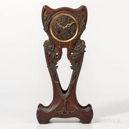 Art Nouveau Mahogany and Patinated-bronze-mounted Mantel Clock